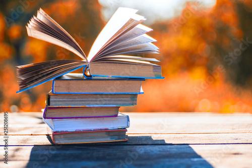Obraz na plátně  Open book on wooden table on natural background. Soft focus