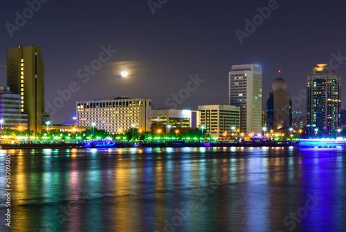 Night view of Creek Skyline in moon light
