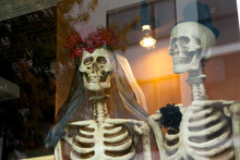 Two Dressed Up For Honeymooners Skeletons On The Window.