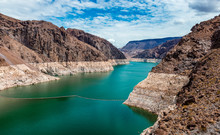 View Of Lake Mead From The Hoover Dam,  In The Black Canyon Of The Colorado River, On The Border Between The U.S. States Of Nevada And Arizona.