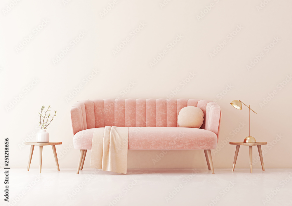 Fototapety, obrazy: Living room interior wall mock up with pastel coral pink sofa, round pillow and plaid on empty beige wall background. 3D rendering.