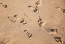 Footprints Of Bare Feet On The...