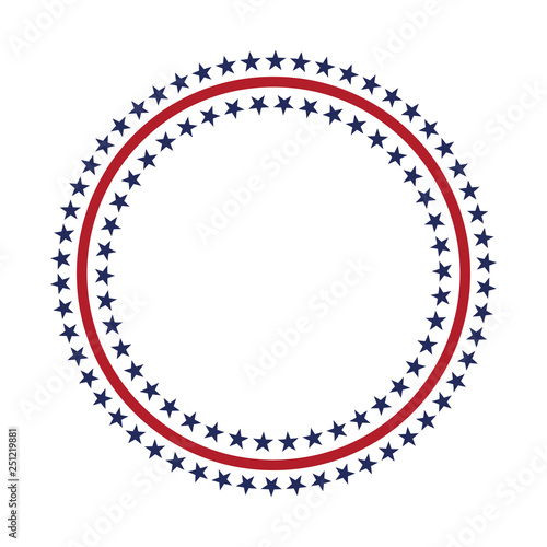 Obraz USA star vector pattern round frame. American patriotic circle border with stars and stripes pattern. - fototapety do salonu