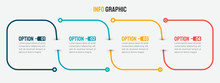 Thin Line Infographic Template. Timeline With 4 Option. Vector.