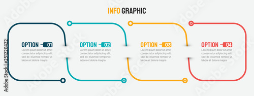 Photographie  Thin line infographic template. Timeline with 4 option. Vector.
