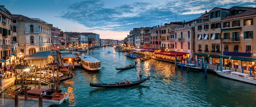 Fototapety, obrazy: Panorama of Venice at night, Italy