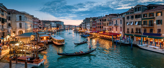 Panorama of Venice at night, Italy. Urban landscape with city lights.