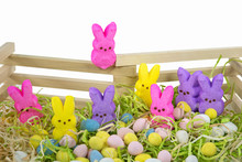 Colorful Easter Bunny Candy With Pastel Eggs And Wooden Fence