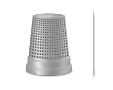 Creative Vector Illustration Of Needle, Thimble Isolated On Transparent White Background. Art Design Sewing Tailor Tools And Accessories. Abstract Concept Graphic Silver Metal Vintage Element