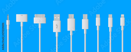 Fototapeta Creative vector illustration of cellphone usb charging plugs cable isolated on transparent background
