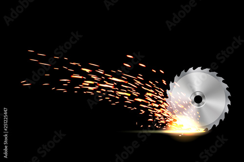 Fototapeta Creative vector illustration of circular saw blade for wood, metal work with welding metal fire sparks isolated on transparent background