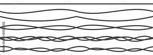 Fotografie, Tablou Creative vector illustration of realistic electrical wires flexible network, connection industrial power energy cables isolated on transparent background