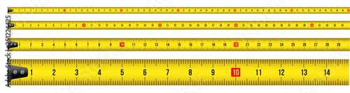 Photo Creative vector illustration of tape measure, measuring tool, ruler, meter isolated on transparent background
