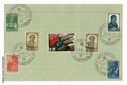 Soviet historical stamps: on a notebook sheet in a line with the cancellation of Canvas Print