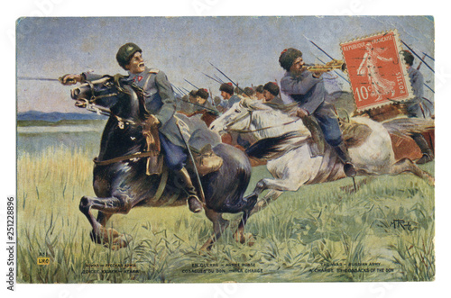 Canvastavla French historical postcard: Don Cossacks in the attack