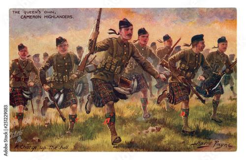English historical postcard: The Queen's Own Cameron Highlanders Fototapeta