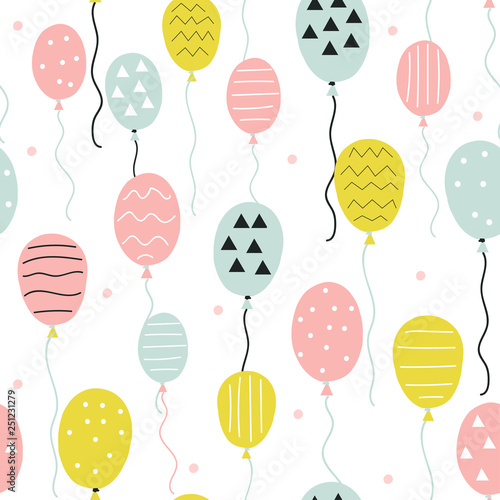 fototapeta na lodówkę Seamless pattern with hand drawn balloons. Cute holiday print. Vector illustration.
