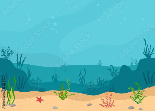 Stampa su Tela Underwater landscape with seaweeds