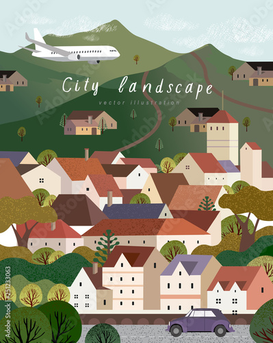 Fototapety, obrazy: Vector illustration of a village town in Europe, cityscape with houses, mountains and trees, background for poster, covers, cards, banner