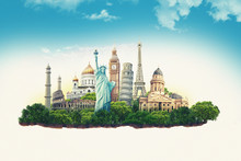 Travel Illustration World's Famous Landmarks And Tourist Destinations Elements In Colorful Background. 3d Illustration. Isolated Soil Slice.