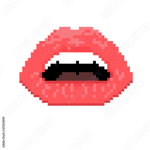 Vector Illustration Of Sexy Woman Red Lips Pixel Art