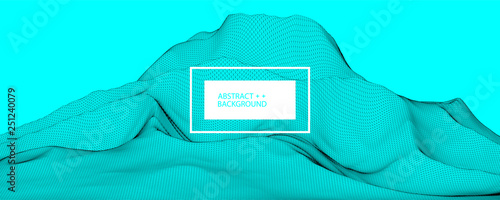 Photo sur Toile Turquoise Wireframe landscape background. Futuristic vector illustration.