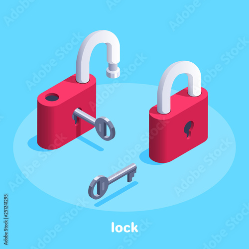 Cuadros en Lienzo  isometric vector image on a blue background, a red lock with a key, open and clo