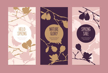 Set Of Spring Cards Or Banners With The Branches Of A Blossoming Magnolia. Flowers, Buds And Branches Of Magnolia On A Pink Background. It Can Be Used As A Template For Packaging, Invitation Cards, Co