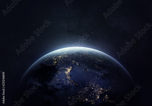 Obraz Nightly Earth in the outer space collage. Abstract wallpaper. City lights on planet. Civilization. Elements of this image furnished by NASA - fototapety do salonu