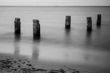 Wooden Breakwaters On The Sea ...