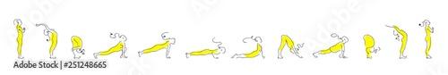 Fotografía  Yoga asana practice with Om symbol in lotus vector illustration.