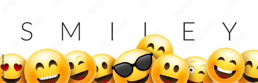 Smiley funny background emoticon face vector wallpaper. Fun smile 3d template design - obrazy, fototapety, plakaty
