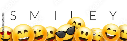 Fotografie, Obraz  Smiley funny background emoticon face vector wallpaper