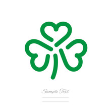 Clover Logo Template Three Green Hearts Icon Emblem Isolated White Background