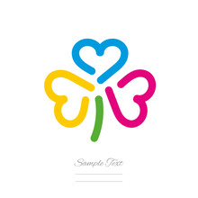 Clover Logo Template Three Colorful Hearts Icon Emblem Isolated White Background