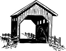 Covered Bridge Vector Illustration