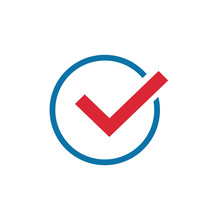 Red Check Mark In Circle Icon In Trendy Flat Style, Check Box Icon. Vector Illustration Isolated On White
