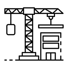 Construction Crane Icon. Outline Construction Crane Vector Icon For Web Design Isolated On White Background