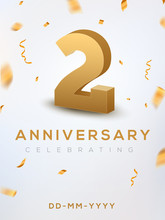 2 Anniversary Gold Numbers With Golden Confetti. Celebration 2 Anniversary Event Party Template