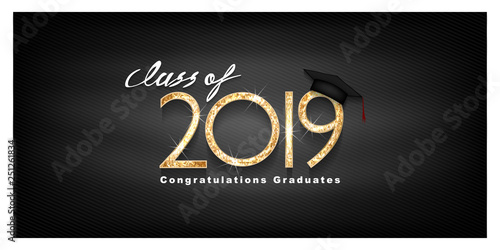 Fototapeta Vector Text For Graduation Gold Design Congratulation Event T Shirt Party High School Or College Graduate Lettering Class Of 2019 For