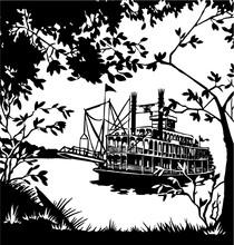 Riverboat Scene Vector Illustration