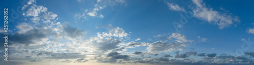 Panorama of peaceful blue sky with puffy clouds Wallpaper Mural