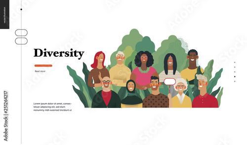 Fototapeta Technology 2 - Diversity - modern flat vector concept digital illustration of various people presenting person team diversity in the company. Creative landing web page design template obraz