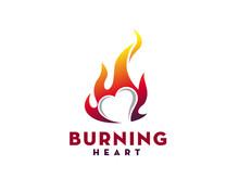 Burning Fire Heart Logo Design Inspiration