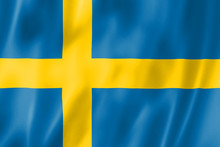 The Flag Of Sweden. Yellow Cro...