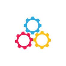 Cute Three Colorful Cog Machine Symbol Logo Vector