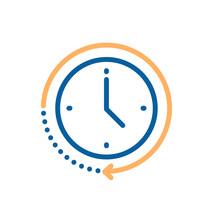Clock Icon With Circular Motio...