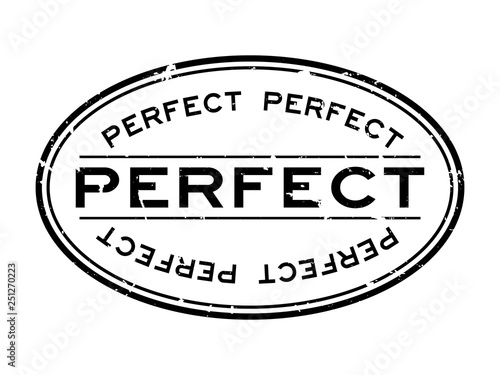 Fotografie, Obraz  Grunge black perfect word oval rubber seal stamp on white background