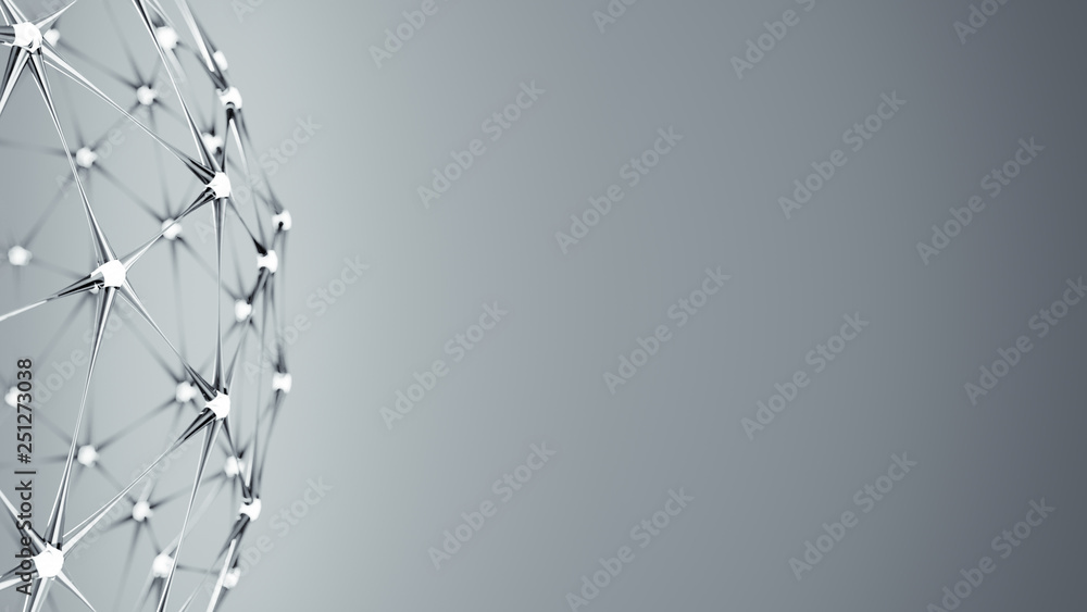 Fototapeta Futuristic plexus glass lattice 3D rendering