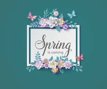 Spring Season With Frame Of Fl...